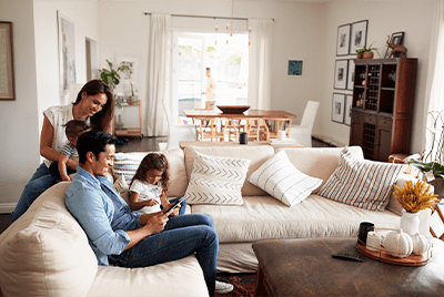 family enjoying time in renovated home