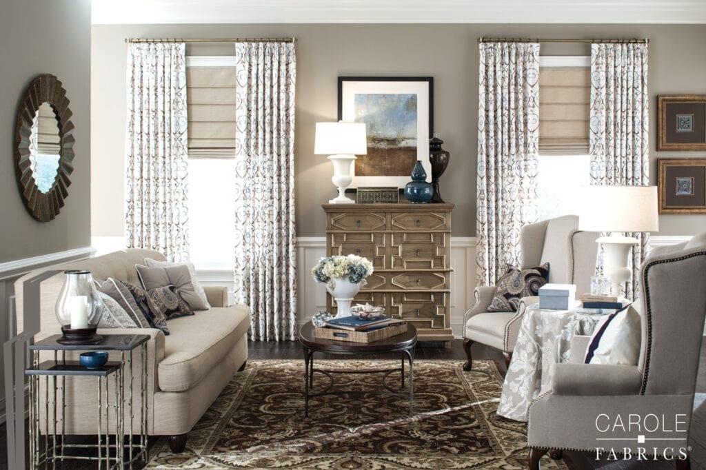 Carole Fabrics - Hobbled Roman Shades with drapery panels