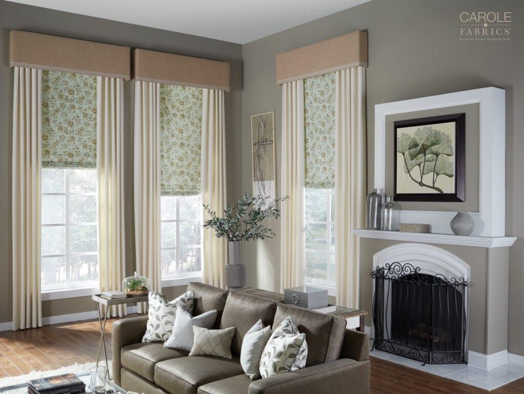 Carole Fabrics - Flat Roman Shades with cornices and drapery panels