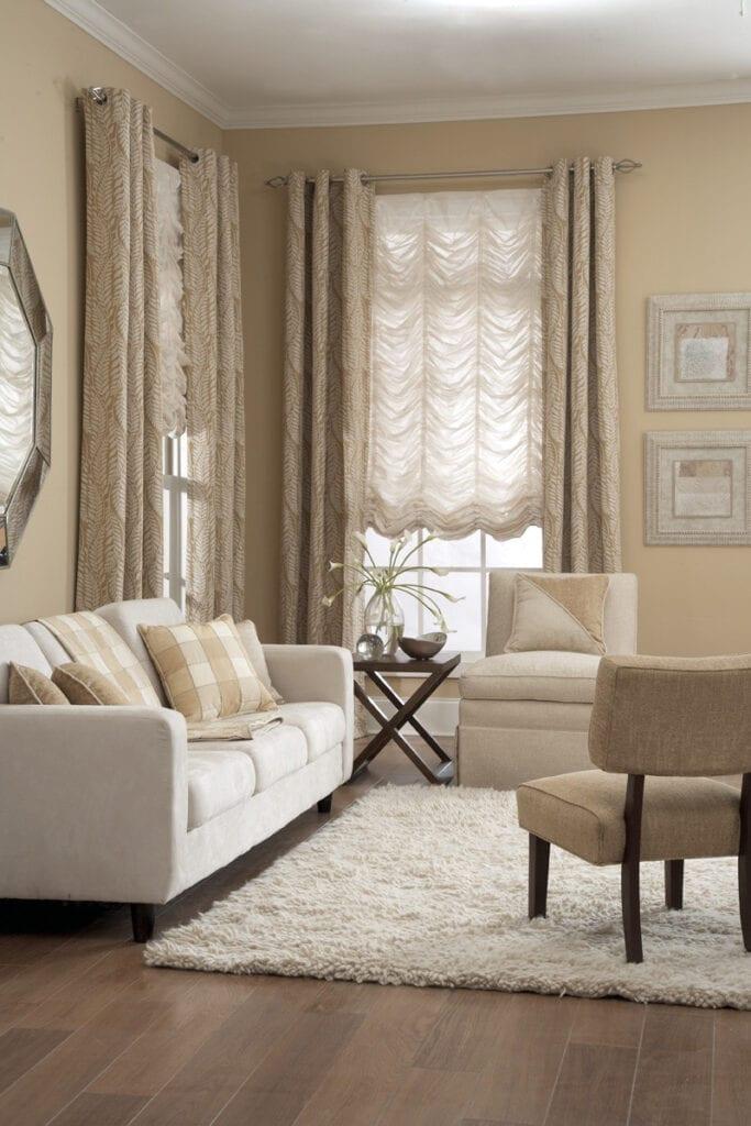 Carole Fabrics - Slouch Roman Shades with grommet drapery panels