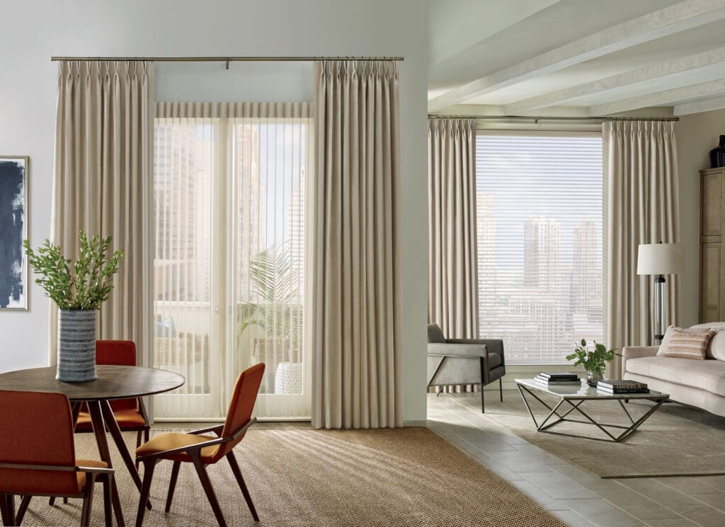 Hunter Douglas Design Studio drapery panels with Luminette Privacy Sheers