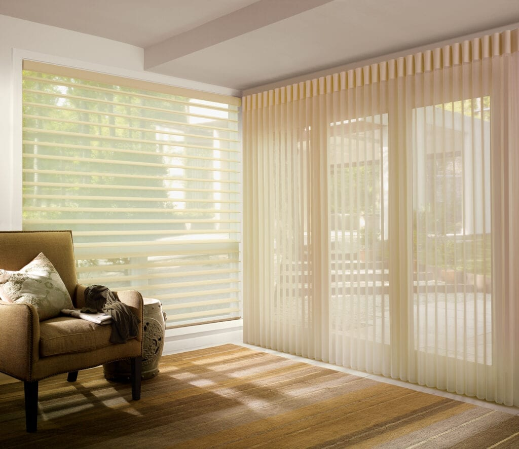 Luminette® Privacy Sheers shown coordinating with Silhouette® Window Shadings