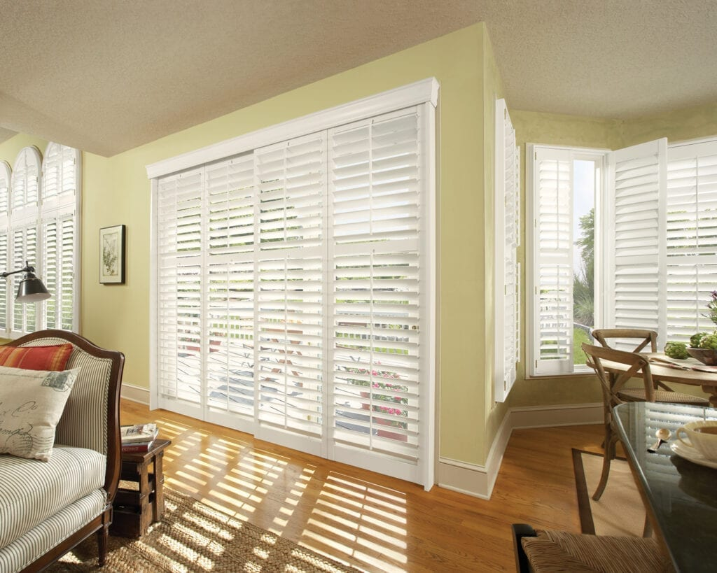 NewStyle® Plantation Shutters - bypass track for sliding doors