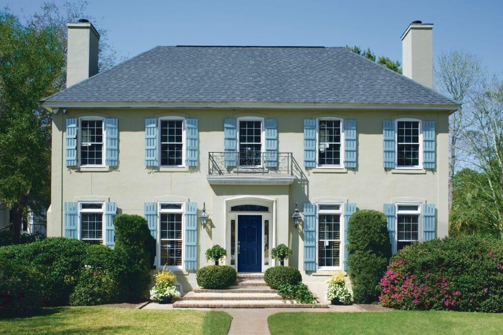 House: CW-55 Finnie Gray   Shutters: CW-615 Randolph Blue