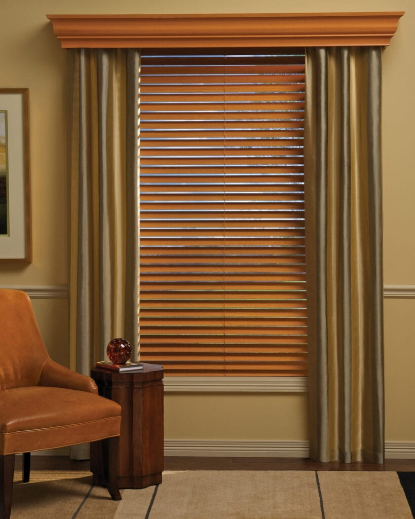 Parkland® Wood Blind with matching wood cornice